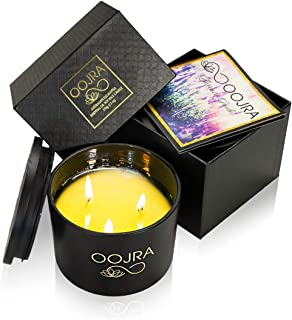 OOJRA Soy Essential Oil Scented Candle, Large 3 Wick w/Lid & Gift Box 13oz Eucalyptus Scented (+ Other Scent Options)
