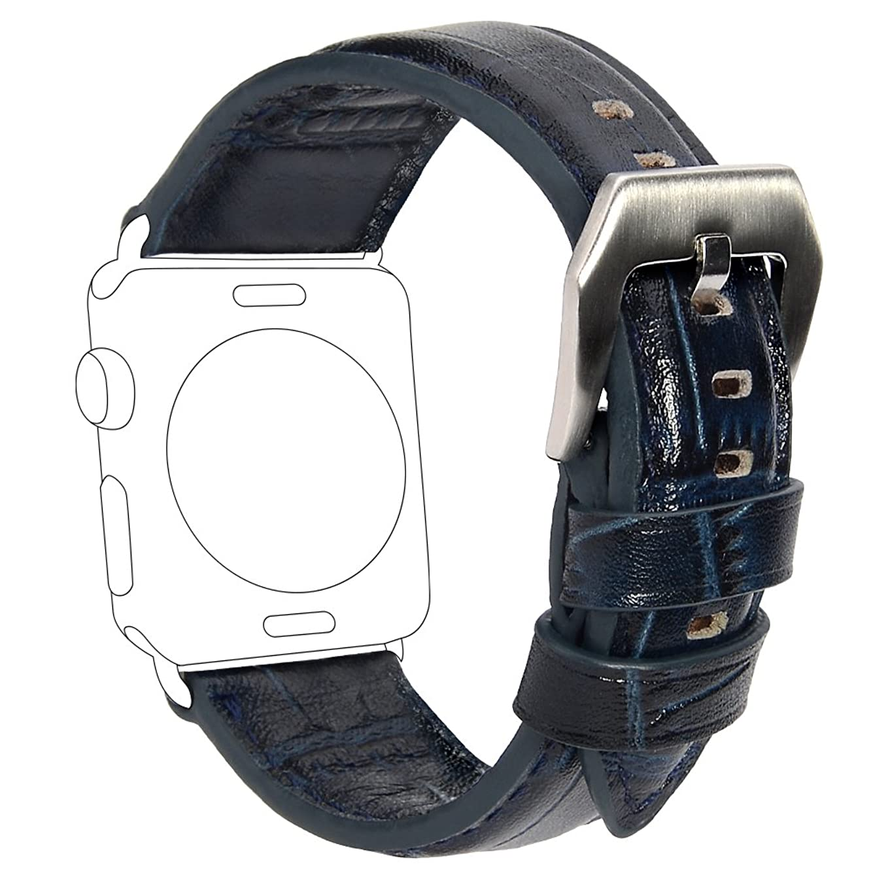 ショートカット別のわなApple Watch バンド COCASES ビジネススタイル コンパチブル アップルウォッチバンド 本革 iWatch 交換ベルト 手作り 高級感 柔軟 おしゃれ 男女兼用 38mm ブルー