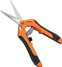 VIVOSUN 6.5 Inch Gardening Hand Pruner Pruning Shear with Straight Stainless Steel Blades Orange