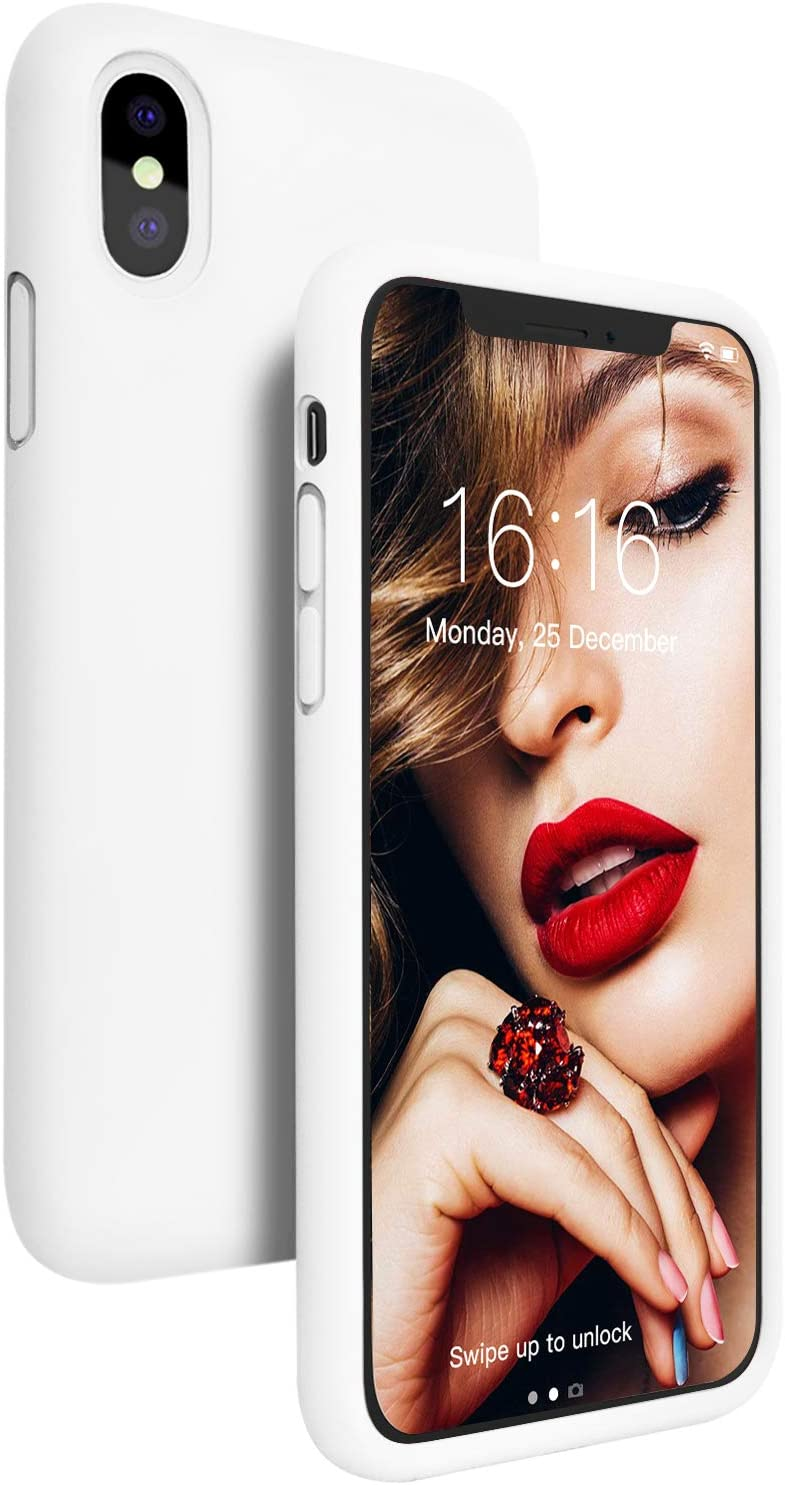 Compatible with iPhone Xs/X Case, iPhone 10 Case, JASBON Liquid Silicone Phone Case with Soft Microfiber Lining Gel Rubber Shockproof Cover Full Protective Case for iPhone Xs/X (White)