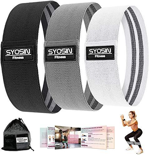 SYOSIN Fitnessbänder, [3er Set] Widerstandsbänder Set Loop-Band für Hüften und Gesäß, 3 Widerstandsstufen für Hintern, Beine und Ganzkörpertraining, Resistance Hip Bands … (schwarz)