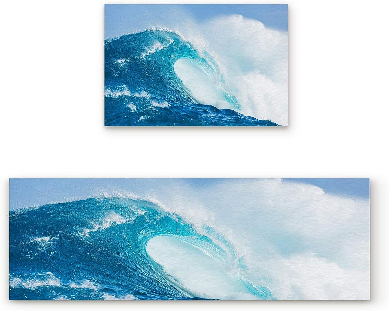 SODIKA Non Slip Kitchen Rug Set 2 Piece, Floor Mat Carpet Runner,Tropical Sea Hawaii Landscape Waves Surf bluee Water (23.6x35.4in+23.6x70.9 inches)