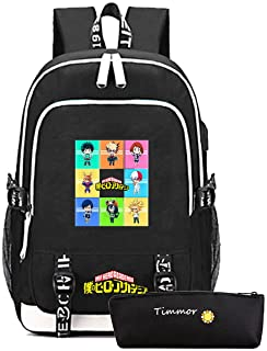 Timmor My Hero Academia Laptop Backpack with USB Charging Port, Middle School College Bookbags for Women Men.