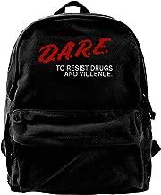 WUHONZS Canvas Backpack Dare to Resist Drugs and Violence Rucksack Gym Hiking Laptop Shoulder Bag Daypack for Men Women