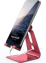 پایه ایستاده تلفن قابل تنظیم ، پایه ایستاده تلفن Lamicall: [نسخه به روز رسانی] گهواره ، بارانداز ، دارنده سازگار با iPhone Xs XR 8 X 7 6 6s Plus SE 5 5s 5c شارژ ، میز لوازم جانبی ، تلفن هوشمند آندروید - قرمز