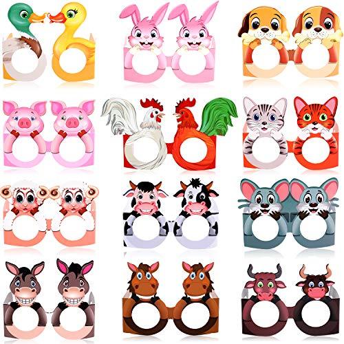 36 Pares Gafas de Papel de Animal de Granja Gafas de Temáticos de Granja Gafas de Fiesta Coloridas Accesorios de Fotomatón de Novedad para Fiesta de Cumpleaños de Granja, 4,9 x 4,5 x 4,3 Pulgadas