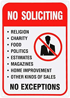 No Soliciting Charity Food Politics Indoor/outdoor Sign, Lightweight And Light Aluminum Novelty Metal Funny Warning Sign 1825cm