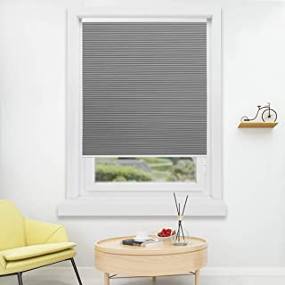HOMEDEMO Cordless Blackout Cellular Shades Fabric Honeycomb Blinds for Windows, Doors and Bedroom, White Dark Gray 46W x 48H