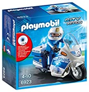 Play fun for little police fans: Playmobil Police Bike with LED flashing light and matching accessories for accurate role-play Police officer with motorcycle helmet, motorcycle with flashing lights on the side fairing and on the rear, folding stand f...