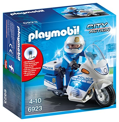 PLAYMOBIL City Action Policía con Moto y Luces LED, A parti