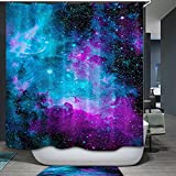 QCWN yl42 Duschvorhang mit Sternenmotiv, Marineblau/Violett, Polyester, blau, 59Wx70L