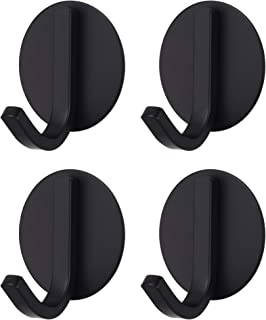 BasicForm Ganchos Adhesivos de Acero Inoxidable Ultra Fuerte Adhesivo para Baño y Cocina Negro (1-Gancho x 4 Piezas)