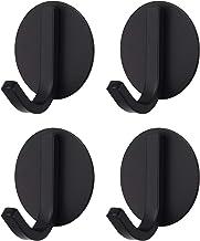 BasicForm Kleefhaken roestvrij staal zwart (4 Pack) - ronde vorm