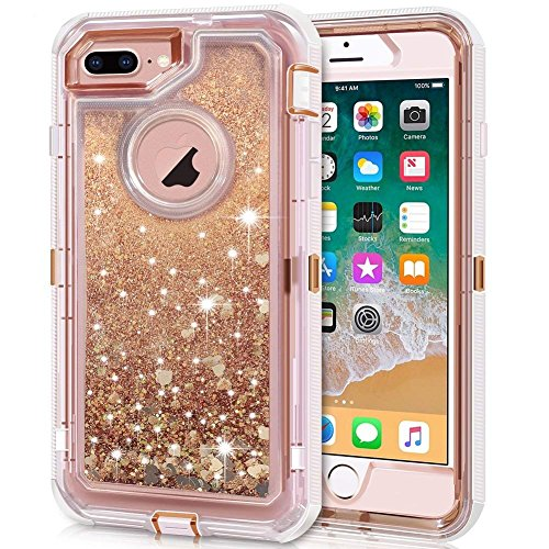 iPhone 8 Plus Case, iPhone 7 Plus Case, Anuck 3 in 1 Hybrid Heavy Duty Defender Case Sparkly Floating Liquid Glitter Protective Hard Shell Shockproof TPU Cover for iPhone 7 Plus /8 Plus - Rose Gold