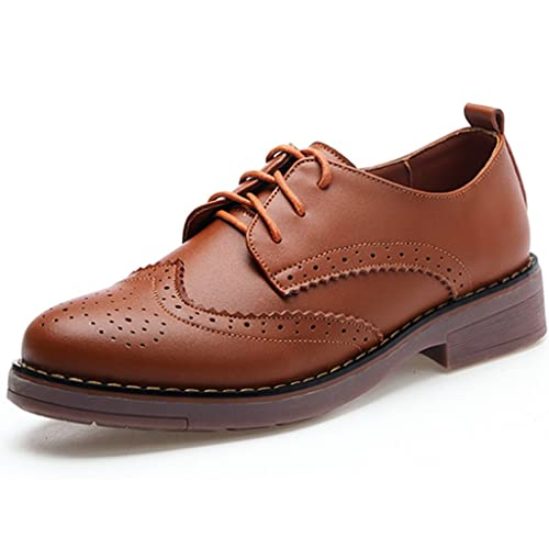 42a045a75afc DADAWEN Women s Perforated Lace-up Wingtip Leather Flat Oxfords Vintage Oxford  Shoes Brogues