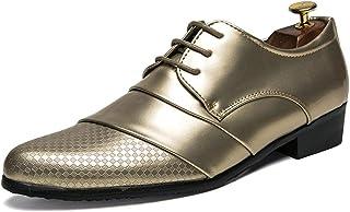 Ghy-shoes Zapatos Oxford para Hombres Zapatos Formales Cordones Microfibra Piel Personalidad Costura Textura Low Top Zapato