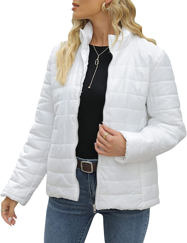 JMETRIE Women's Cotton Padded Jacket Printed Long Sleeve Zipper Pocket Casual Fashion Coat