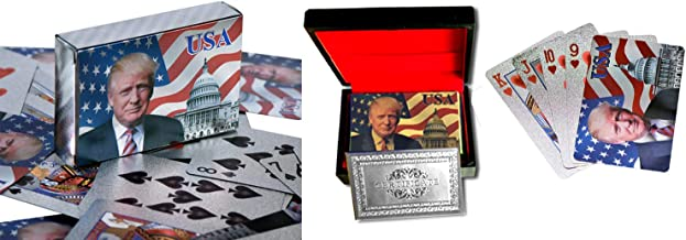 Donald Trump Playing Cards - Silver Plated Commemorative Collectors Edition Playing Cards. Stunning Silver Plated Deck of Cards In Silver Foil Box and Presentation Display. Certificate of Authenticity