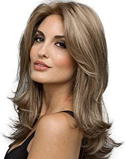 Thumbelina 60cm Natural Wavy Curly Light Brown Mix Light Blonde Highlights Medium Long Heat Resistant Synthetic Wigs for W...
