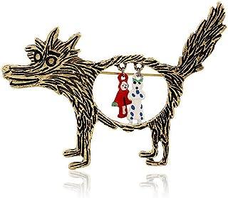 Hosaire Brosche Vintage Kreativ Großer Wolf und Rotkäppchen Form Cartoon-Stil Broschen Schmuck