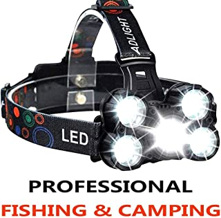 COOLEAD Zoomable Rechargeable headlamp, 5 LED 4 Modes 10000 Lumens 18650 2600mAh USB Rechargeable Head Lamp Flashlight,Waterproof Flashlight Head Lights for Camping, Hiking, Outdoors