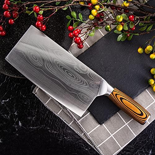 Master Chef Cuchillo de cocina 4CR14 Acero inoxidable cortador cortador de cuchillas 57HRC Blade Sharp Pakka Madera Madera Damasco Dibujar