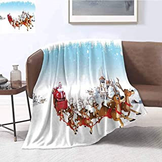 Luoiaax Santa Commercial Grade Printed Blanket Christmas Ride on a Sleigh Cartoon Deer with Jingle Bells Winter Time Queen King W70 x L70 Inch Caramel Red Pale Blue