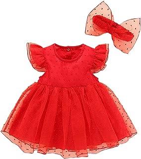 RONSHIN 2 pcs/Set Baby Kids Girls Elegent Mesh Tutu Princess Dress + Bowknot Headband Set red 50 (0-3 Months)