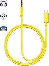 Aux Cord for iPhone X Car AUX Cable 3.5mm Compatible for iPhone Xs/XS Max/X/8/7Plus/6/6s Aux Male Cable Audio Adapter for Car/Home Stereo Speaker & Headphone Whihge Support All iOS [Upgraded] - Yellow