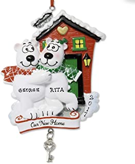 FLORIDA GLASSES Personalized Custom Christmas Ornament Polar White Bear Couple with Family House Keys Dancing Holiday