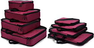4 Set Packing Cubes, Luggage Sets Cube Organizer for Travel Suitcases with Laundry Bag (Red)