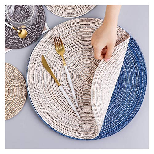 WZZ Round Braided Placemats Set of 4 Washable Round Placemats for Kitchen Table 15 inch(Grey/Blue/White/Beige)
