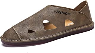 Xiang Ye Outdoor Sandals for Men Breathable Summer Beach Fisherman Shoes Closed Toe Cut-Out Stitch Microfiber Anti-Slip Lightweight (Color : Khaki, Size : 6 UK)