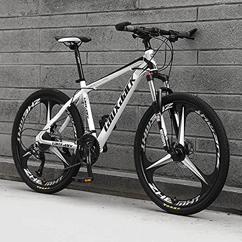 UYHF 26 '' Pieghevole Mountain Bikes, 21/24/27 velocità Biciclette MTB, Sospensione Completa Ruote da 26 Pollici a 3 Raggi, Bicicletta Antiscivolo per Uomo/Donna/adol White-Black-27 Speed