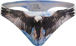 Macondoo Men Sexy Stretchy Underwear Graphic Print Thong Briefs