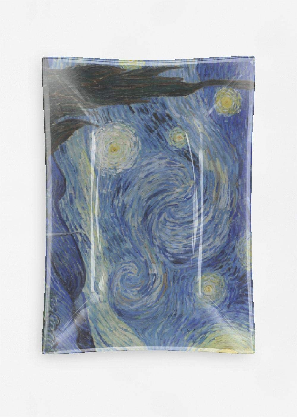 Vida Van Gogh Starry Phoenix Mall Night Glass Decorative Award-winning store Tray Oblong