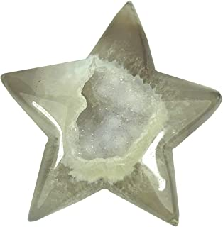 Agate Geode Druzy Puff Stars Polished Pocket Stone Healing Chakra Reiki Palm Quartz Crystal Sparkling Gemmy Specimen Decor Gift Pack of 1(2
