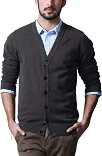 Matchstick Men's Button Through V Neck Knitted Cardigan #Z1522(Dark Gray,UK XL (Asian tag Size 3XL))