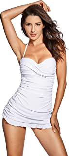 DOBREVA Women's Bandeau Halter One Piece Skirted Swimsuit Swimdress Bathing Suit