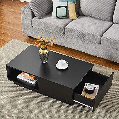 Mesa de Centro Moderna con luz LED,Rectangular, con Extremo Lateral, sofá, Mesa de Almacenamiento de té con Estante y 1 cajón, Sala de Estar, Muebles de Oficina en casa (Negro)