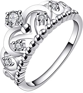 AWLY Women Engagement Wedding Band 925 Sterling Silver Round White CZ Princess Crown Ring