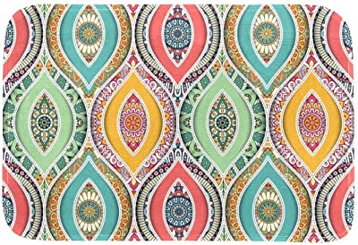 EGGDIOQ Doormats Colored Ethnic Pattern Custom Print Bathroom Mat Waterproof Fabric Kitchen Entrance Rug, 23.6 x 15.7in