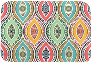 EGGDIOQ Doormats Colored Ethnic Pattern Custom Print Bathroom Mat Waterproof Fabric Kitchen Entrance Rug, 23.6 x 15.7in