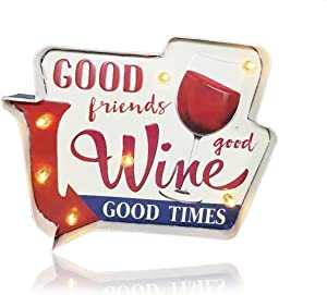Wine Light up Bar Wall Decorations, YAMERBO Retro Metal Embossed Tin Sign, and Vintage Iron Wall Hanging Decor ,Battery Operated Bar Art Wall Sign for Apartment, Home,Kitchen, Bedroom, Bar (Wine)