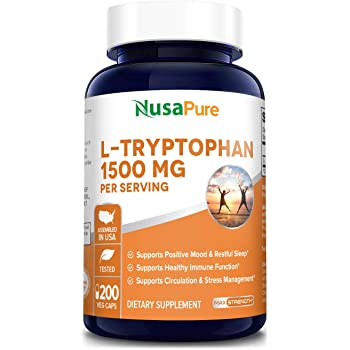 L-Tryptophan 1500mg 200 Vegetarian Caps (Non-GMO & Gluten Free) Natural Sleep Aid Supplement to Encourage Relaxation, Combat Stress - 500mg per Capsule