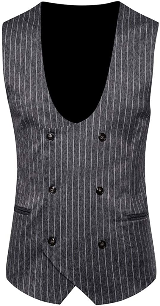 Men's Double Breasted Waistcoat Stripe Vintage Formal Business Tuxedo Suit Vest