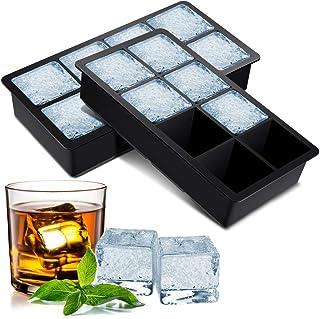 BROTOU Silikon Eiswürfelform, 2er Eiswürfel Form Eiswürfelbehälter BPA Frei 5cm Große Eiskugeln Runde Eiskugelformer Ice Tray Ice Cube für Bier Cocktails Whisky Saft Schokolade Süßigkeiten