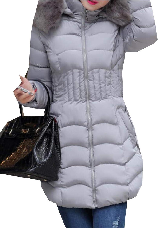 Qiangjinjiu Women Solid Faux Fur Hoodie Stylish Quilted Cotton Down Parka Coat