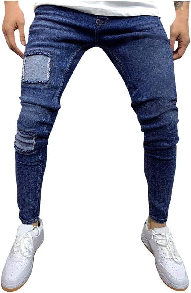Hommes Ripped Skinny Slim Fit Jeans Détruit Frayed Conçu Biker Denim Pantalon