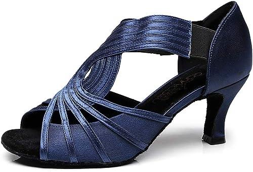ZXYYUE Chaussures de danse latine en satin pour femmes - Escarpins en salle de bal en satin - Sandales Taogo
